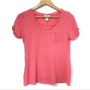 Sundance linen v-neck t-shirt pocket slub knit